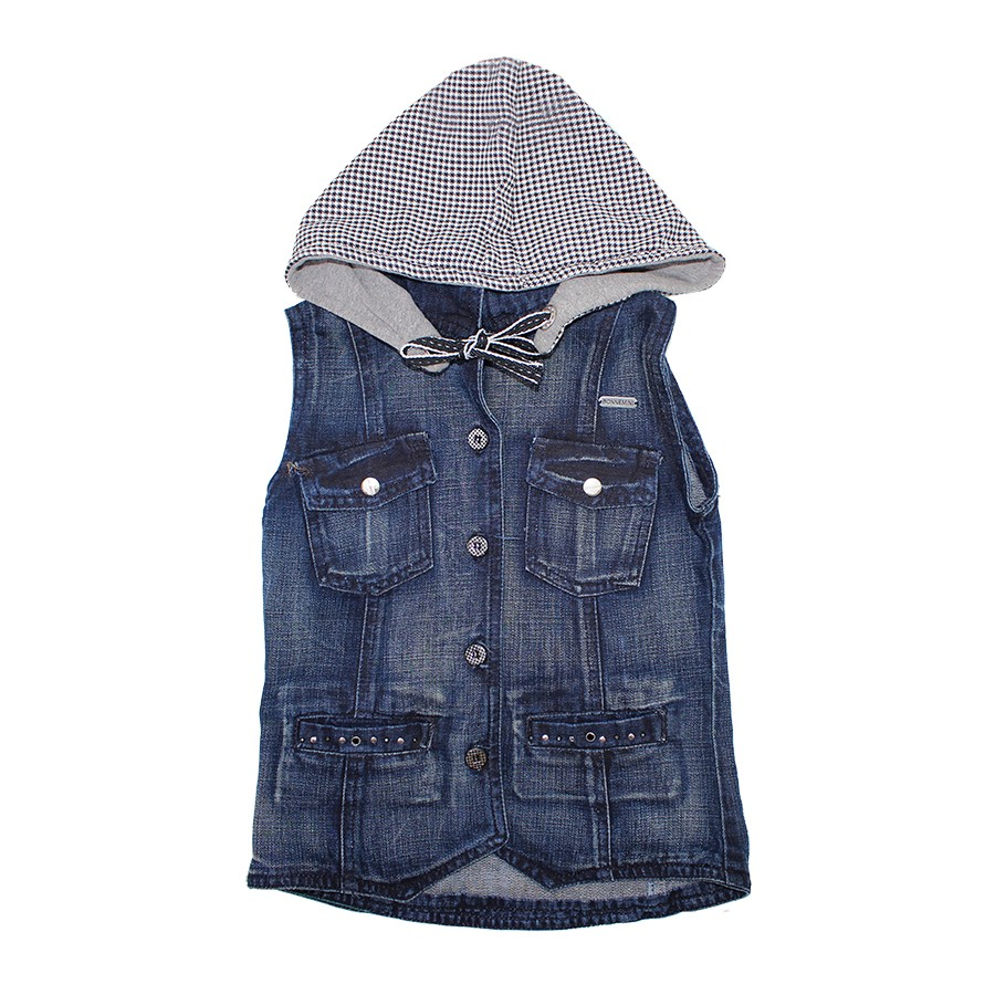 Colete Infantil Jeans com Capuz 7925  c37febbb0a4