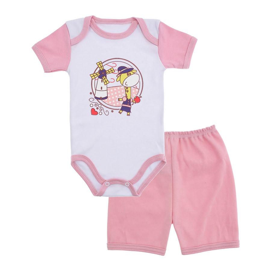 Conjunto Body e Short Bebê Menina Lapuko  75d5a0c04f5