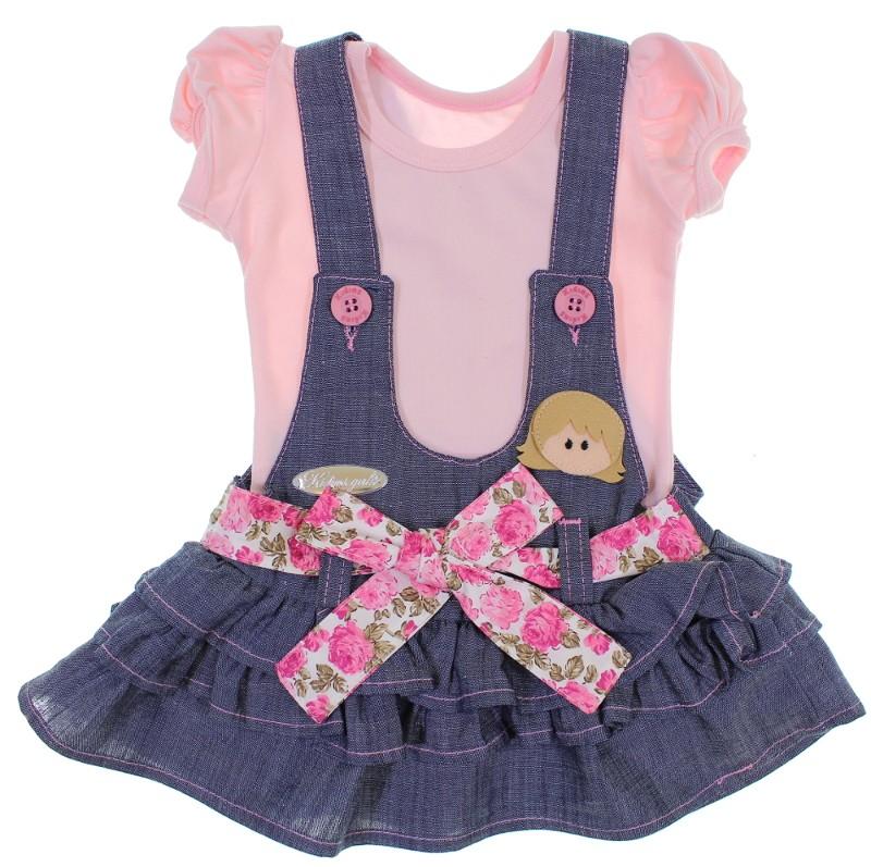 50b39fc8f Conjunto Salopete Jeans para Bebê 6319 3003-0 - Rosa - Loja de Bebê ...
