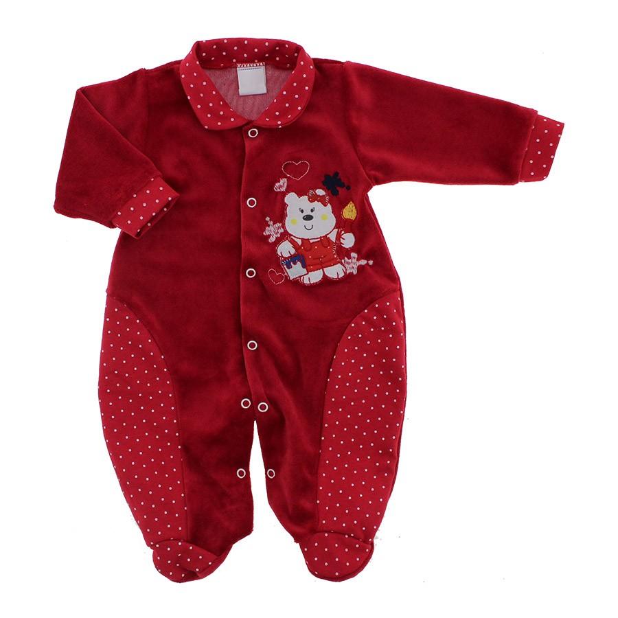 Macacão de Bebê em Plush Vermelho 9058  1fdf4744360