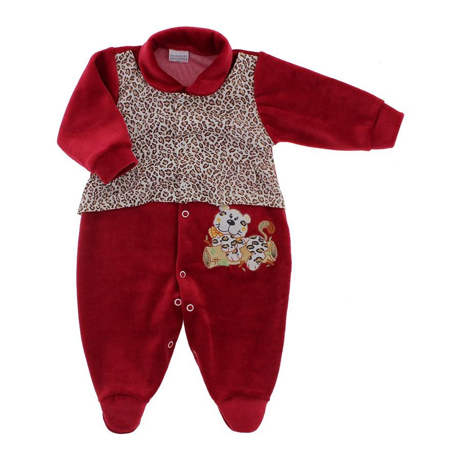Macacão de Bebê em Plush Oncinha Vermelho 9061  53cc0601261