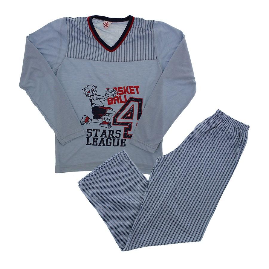 aeb887484 Pijama Juvenil Masculino Longo Basket - 8958 6034 - azul - Loja de ...