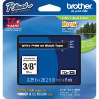 Fita para rotulador 9mm branco/preto TZe325 Brother