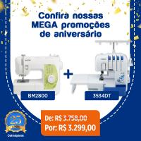 COMBO Máquina de Costura Mecânica Brother BM2800 + Overlock Doméstica Brother 3534DT