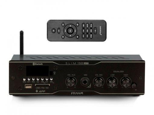 Amplificador de som ambiente de 2 canais de 30W   Bluetooth, USB, FM e Mic   Frahm   SLIM 1500 APP