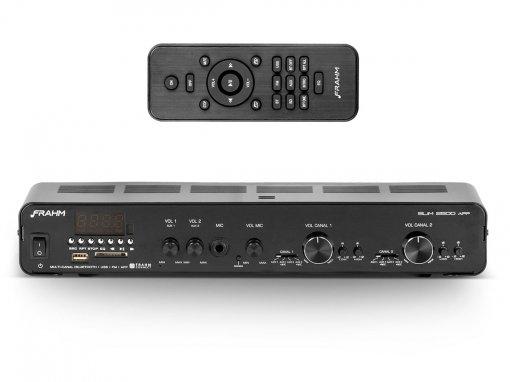 Amplificador de som ambiente de 2x 80W | Bluetooth, USB, FM e Mic | Frahm | SLIM 2500 APP G2