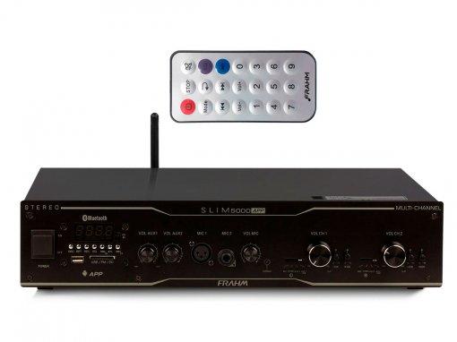Amplificador de som ambiente de 2x de 300 watts | Bluetooth, USB, FM e Mic | Frahm | SLIM 5000 APP