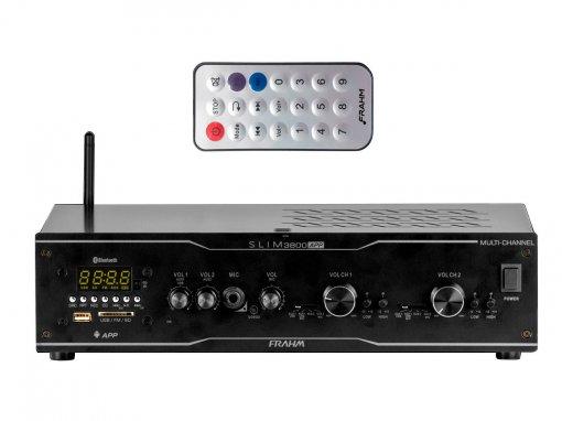 Amplificador e receiver para som ambiente com 300W (2 x 150W RMS @ 4 Ohms) | SLIM 3800 APP MULTI-CHANNEL | Frahm