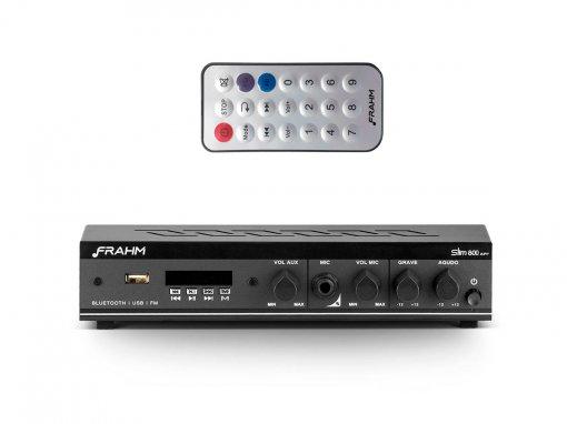 Amplificador / Receiver de 2 canais, bivolt e 30W | Bluetooth, USB, FM e Mic | Frahm | SLIM800APP