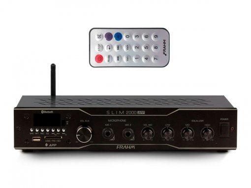 Amplificador som ambiente com 120W Bivolt | Bluetooth, USB, FM e Microfone | Frahm | SLIM 2000 APP