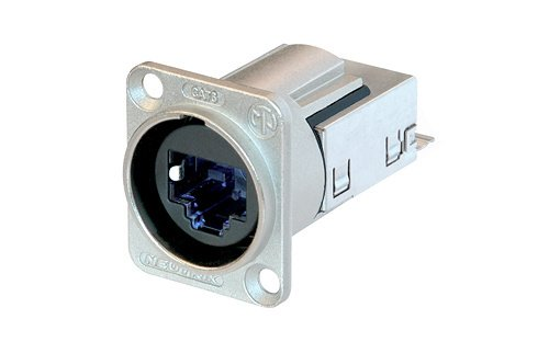 Conector de painel em formato D EtherCON CAT6 com invólucro de metal | Neutrik | NE8FDY-C6