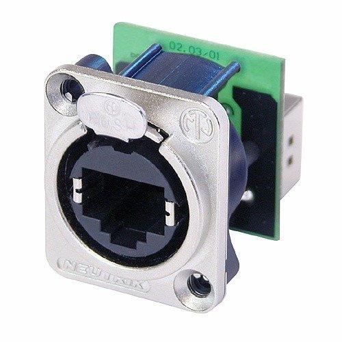 Conector EtherCcon RJ45 de painel com formato D em metal | Neutrik | NE8FDP