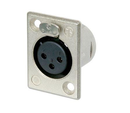 Conector fêmea de painel 3 pólos corpo de metal e tamanho D unificado | Neutrik | NC3FP1