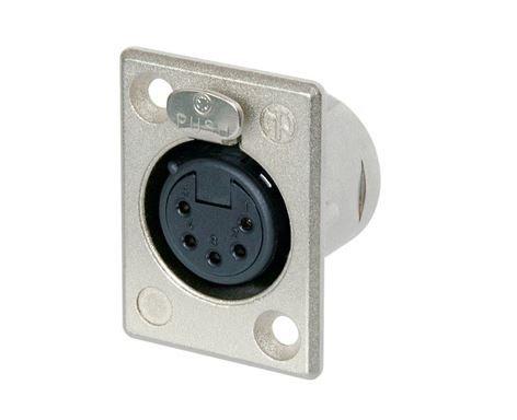 Conector XLR fêmea de painel com 5 pólos, contatos de prata para solda e caixa de níquel   Neutrik   NC5FP-1