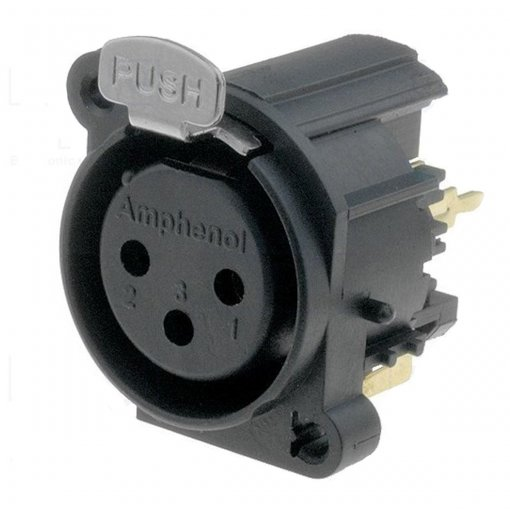Conector XLR Fêmea vertical 3 pinos para PCB / PCI | Amphenol | AC3FAV-AU-B