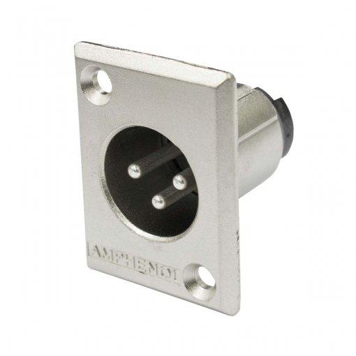 Conector XLR macho de painel com corpo de metal e contatos a níquel   Amphenol    AC3MMP