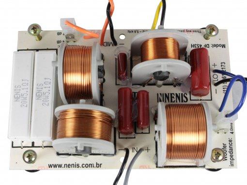 Divisor de Frequência 3 vias Passivo | 1 ou 2 Alto falantes, 1 Driver fenólico e 1 Tweeter de até 450W RMS | DF453H | Nenis