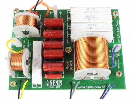 Divisor de frequência 3 vias Passivo | Alto-falantes de grave, Alto-falante de médio e Tweeter de até 850W RMS | DF853L | Nenis