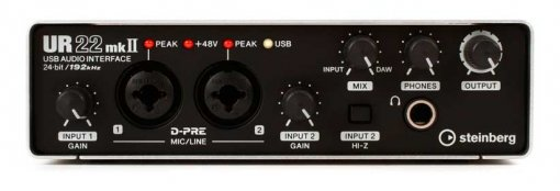 Interface de áudio 2 x 2 | USB 2.0 | D-PRE | 192 kHz | MIDI | Steinberg | UR22MkII