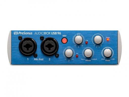 Interface USB, 2 canais de entrada e 2 saídas balanceadas P10   96 KHz   Presonus  AudioBox USB 96