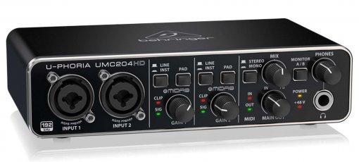Interface USB 2 entradas e 4 saídas | 24-Bit/192 KHz, MIDI e Insert | Behringer | U-CONTROL UMC204HD