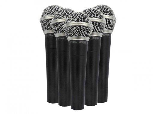 Kit com 5 microfones dinâmicos cardioide de mão + maleta para transporte | CSR | KIT HT58A-5