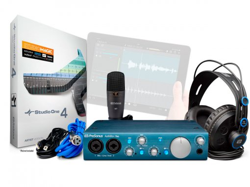Kit Estúdio com interface USB de 2 canais, Microfone e Fone | Presonus | AudioBox iTwo Studio