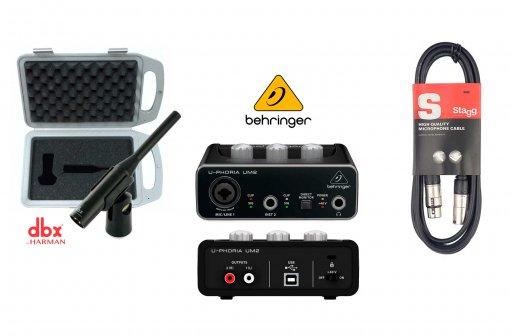 Kit medição de frequência, Interface Behringer USB UM2, Microfone DBX RTA-M e Cabo Stagg XLR 10m