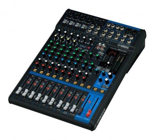 Mesa de som analógica com 12 canais: 4 mono/mic + 4 estéreo   USB   FX   MG12XU   Yamaha