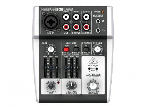 Mesa e interface com 1 pré-amplificador, 2 entradas de linha, Phantom 48v e USB   Behringer   302USB