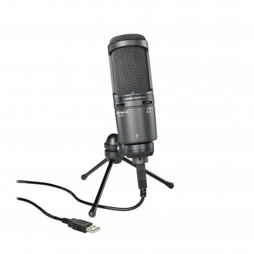 Microfone condensador cardioide   Conexão USB para gravação digital   AT2020USB+   audio-technica
