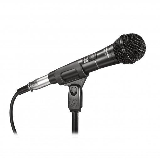 Microfone dinâmico cardioide   Sistema antivibração interno   Chave liga/desliga   PRO41   audio-technica