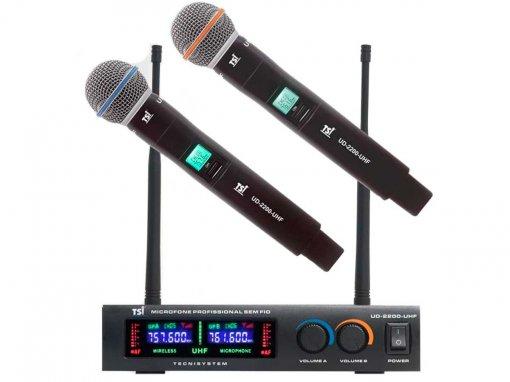 Microfone sem fio Duplo de mão Super cardioide   TSI   UD-2200-UHF