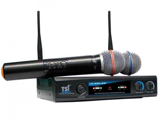 Microfone sem fio duplo de mão UHF Super Cardioide | TSI | UD-800-UHF