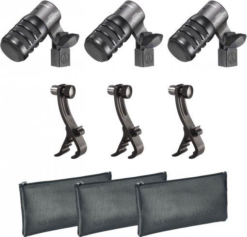 Pack com 3 Microfones dinâmico hiper-cardioide para instrumento | ATM230PK | audio-technica
