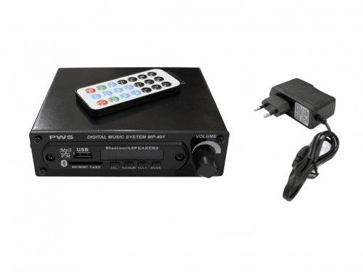 Reprodutor MP3 com leitor USB/SD, Bluetooth e Radio FM   Saída RCA e Controle remoto   PWS   MP-401