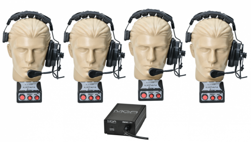 Sistema de comunicação intercom com 4 pontos | Fonte, 4 Headset e 4 controles | MGA Pro Audio | SI40
