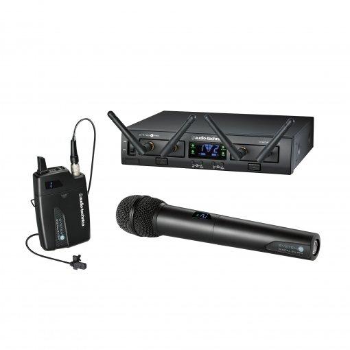 Sistema de microfone sem fio digital | 2,4 GHz 24-bit / 48kHz | 2 Microfones transmissores  Mão / Lapela | ATW-1312-L | audio-technica