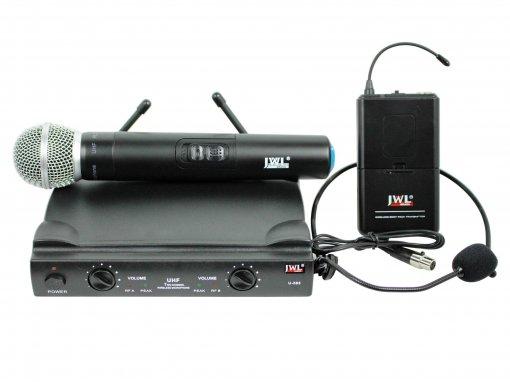 Sistema de microfone sem fio duplo - UHF - Com 1 bastão de mão e 01 microfone headset| U585H | JWL