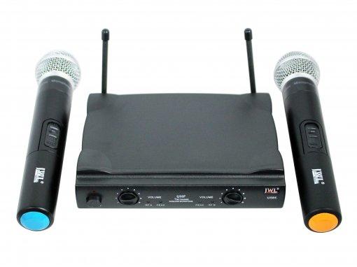 Sistema de microfone sem fio duplo - UHF - 2 microfones de mão   JWL   U-585MM