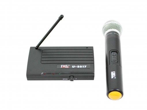 Sistema de microfone sem fio UHF com microfone de mão, Capsula Dinâmico cardioide | JWL | U-8017
