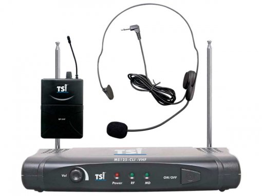 Sistema de microfone sem fio VHF com microfone Headset   TSI   MS125-CLI-VHF