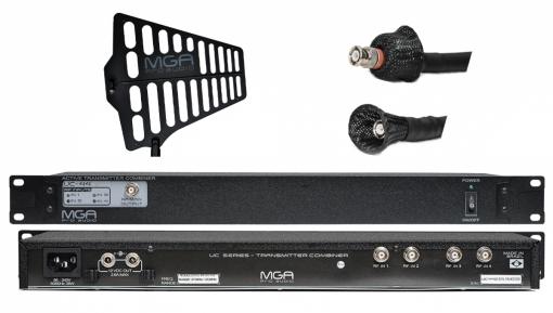 Sistema de RF para IEM   1 Combiner, 1 Antena e 1 cabo 10 metros   MGA Pro Audio   UC-44 2100 A-1