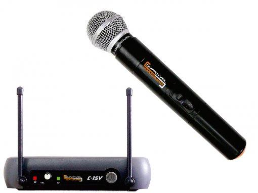 Sistema sem fio VHF com microfone de mão dinâmico cardioide | Compativel | C-15V