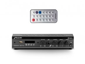 Imagem - Amplificador / Receiver de 2 canais, bivolt e 30W | Bluetooth, USB, FM e Mic | Frahm | SLIM800APP - SLIM800APP