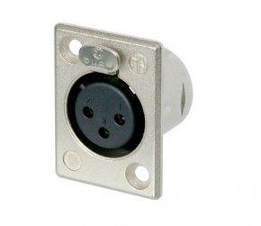 Imagem - Conector fêmea de painel 3 pólos corpo de metal e tamanho D unificado | Neutrik | NC3FP1 - NC3FP1