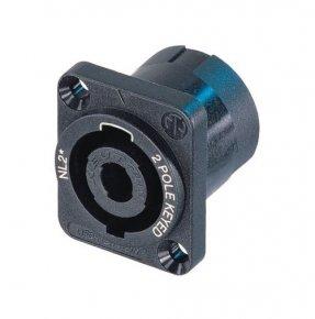 Imagem - Conector Speakon de 2 pólos de painel, flange em D preto e parafusos escareados | Neutrik | NL2MP - NL2MP