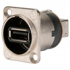 Imagem - Conector USB 2.0 de painel reversível (tipo A e B) em caixa de níquel formato D | Neutrik | NAUSB-W - NAUSBW