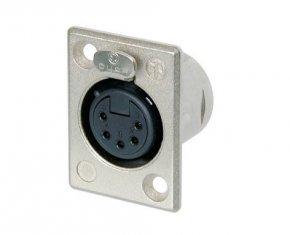 Imagem - Conector XLR fêmea de painel com 5 pólos, contatos de prata para solda e caixa de níquel | Neutrik | NC5FP-1 - NC5FP-1