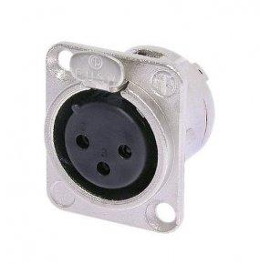 Imagem - Conector XLR fêmea de painel com 3 pólos para embutir, contatos de prata para solda e caixa de níquel | Neutrik | NC3FDL-1 - NC3FDL1